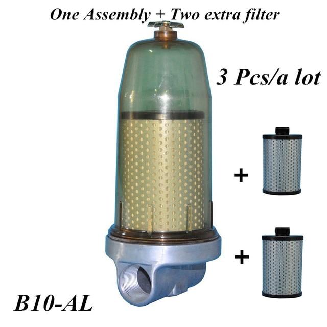 3 قطعة B10 AL مُرشِح خزان الوقود فاصل للمياه عن الوقود الجمعية مع PF10 عنصر فلتر ديزل خزان الزيت