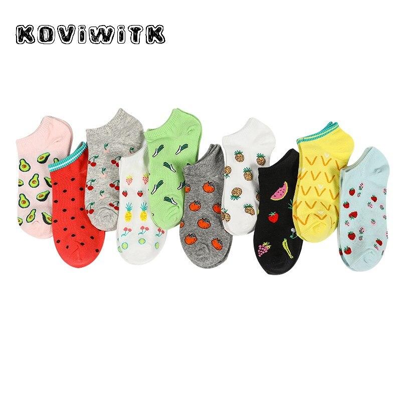 Женские хлопковые носки с фруктами, клубничками, розовыми носками, повседневные короткие черные носки с ананасами, модные женские носки с м...