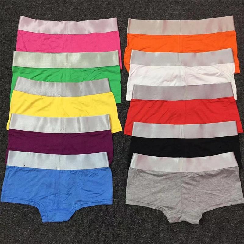 Feminino sólido tendência c logotipo boyshort cor de algodão de aba larga boxer esportes de brim largas cuecas plus size boxer