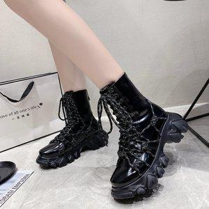 Осенние ботинки, мотоциклетные ботинки, женские Винтажные ботинки в стиле армии, панк, готика, женские черные лакированные кожаные ботинки ...