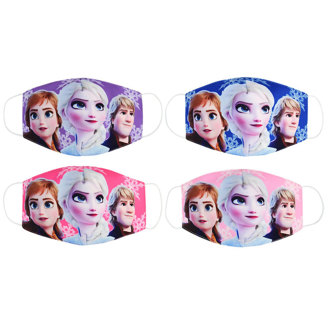 Disney Frozen Cartoon Anti-haze Mouth Face Mask Children Reusable Washable Dust-proof Protection Kids cosplay Masks Girls Gifts 4