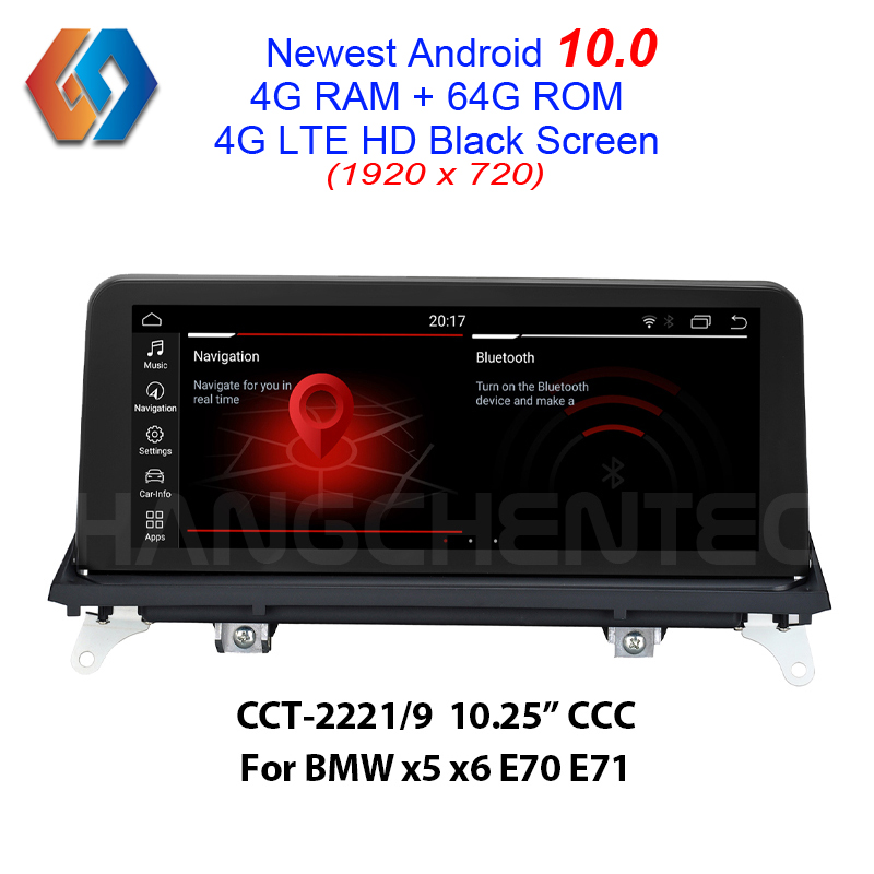64G rom x5 <font><b>e70</b></font> Android 10 Car Stereo For <font><b>BMW</b></font> X5 <font><b>E70</b></font> X6 E71 CCC HD Video 1920x720 Black Screen Car Touch Multimedia Radio GPS Nav image