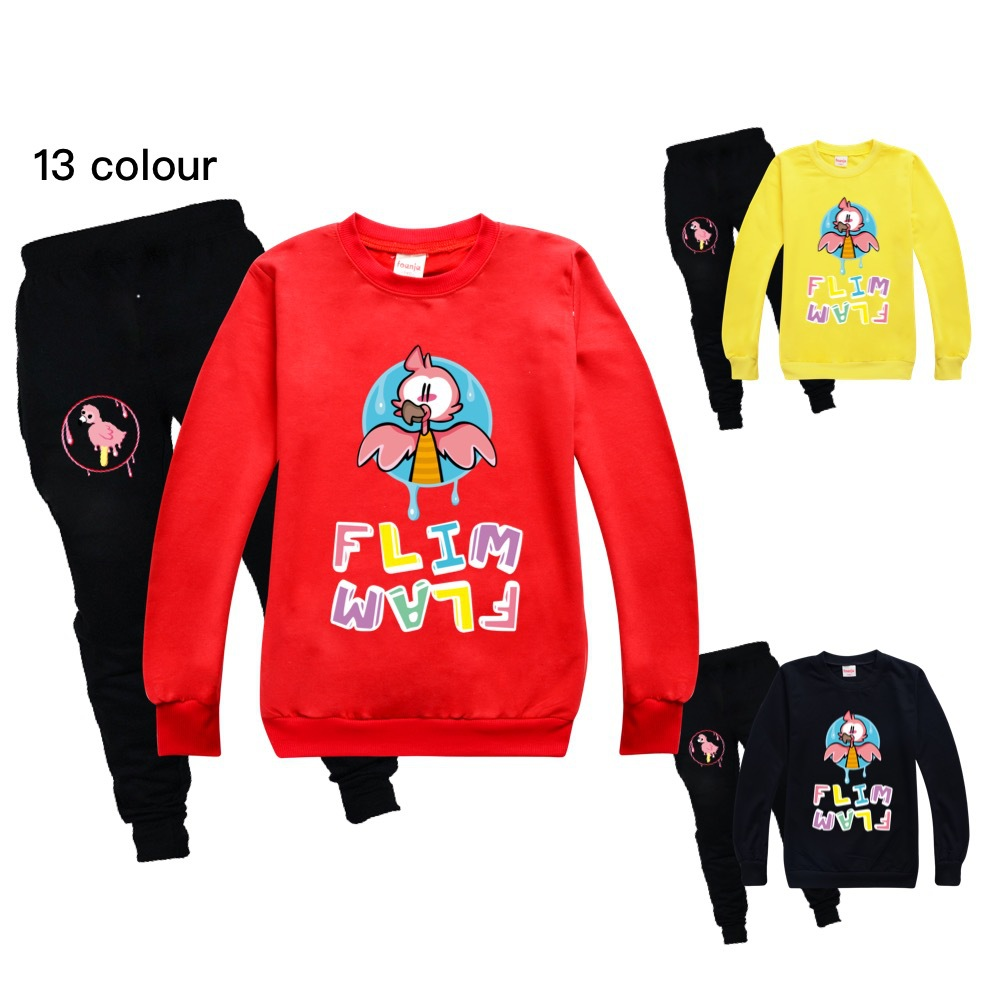 Toddler Girl Fall Clothes 2021 Girls Boutique Outfits Round Neck Sweater + Casual Pants Cotton Flamingo Flim Flam Boys Shirt Set 1