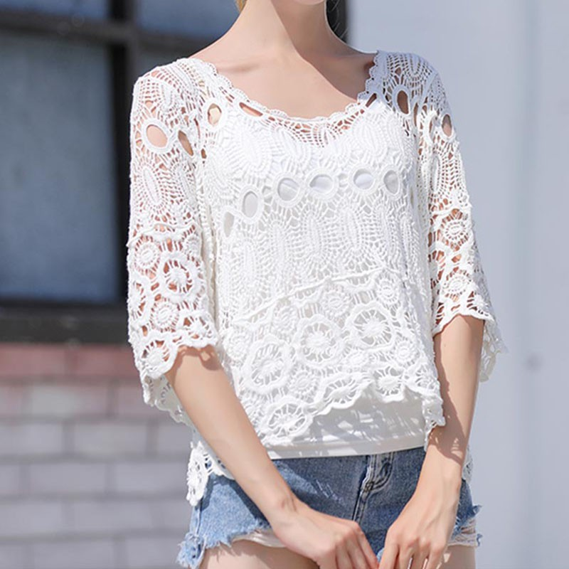 Korean Version Of Hollow Lace Flower Shirt Women V-neck Small Fresh Age-reduced Trumpet Sleeve Top