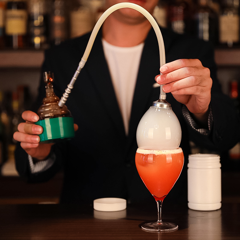 Moleküler kokteyl füme koku makinesi pişirme füme varil moleküler kokteyl aracı Bar şarap duman kabarcık makinesi ahşap baharat