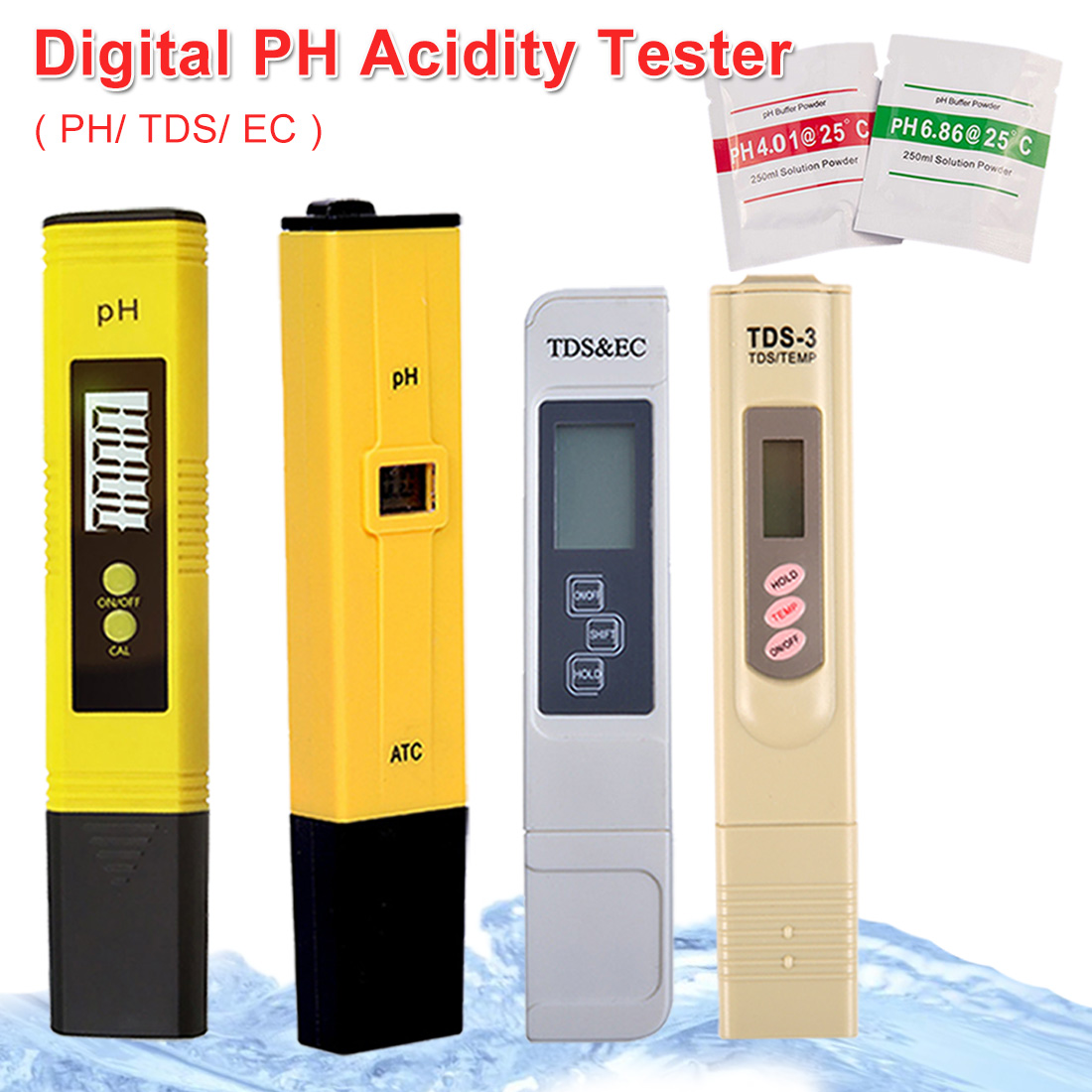 0.0-14.00ph /0-9990ppm Portable Digital PH /TDS/ EC Meter Tester Pen For Aquarium Pool Water Quality Lab PH Monitor Water Purity