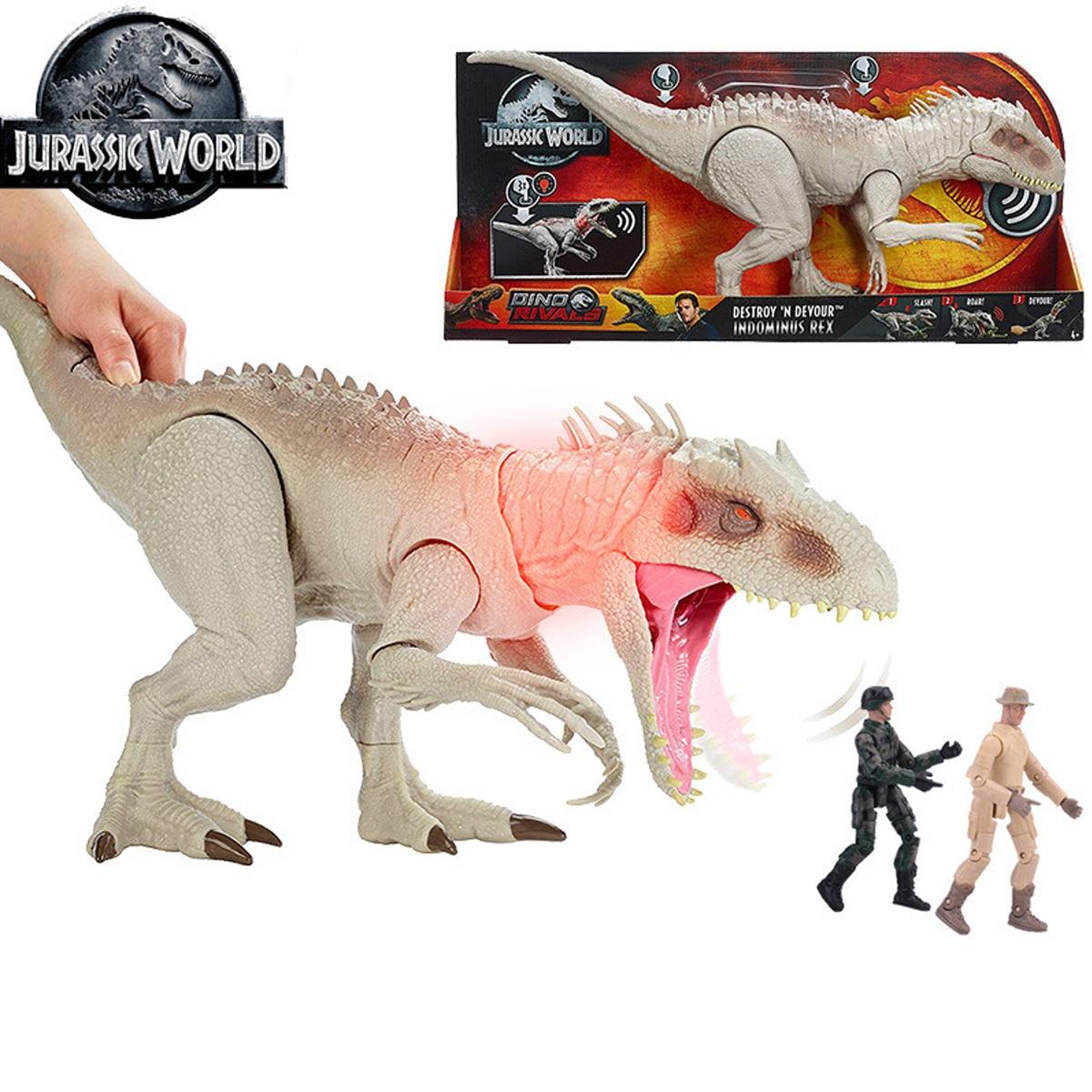 Świat jurajski Tyrannosaurus Rex dinozaury zabawki Indominus z Chomping usta światła i dźwięki dla dzieci zabawki prezent GCT95