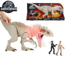 Jurássico mundo tyrannosaurus rex dinossauro brinquedos indominus com chombing boca luzes & sons para crianças brinquedos presente gct95