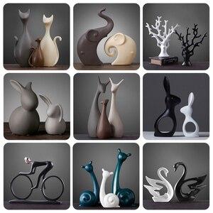 Image 1 - Nordic Table ceramiczne ozdoby porcelanowe zwierzęta dekoracje obejmują słoń kot jeleń królik ślimak wyroby do dekoracji domu miniatury