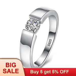 Silver-Rings Sona 925 1-Carat Women Real Diamant Natural Solid for And Full-Size 6/7/8/..