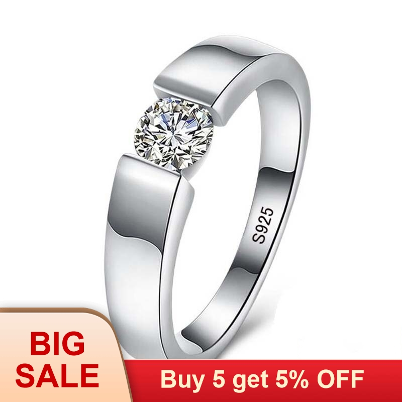 Real Natural Solid 925 Silver Rings 1 Carat Sona Diamant Wedding Rings for Women and Men Full Size 6 7 8 9 10 11 12(China)