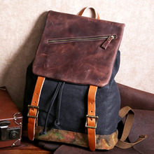2020 New Vintage Canvas Crazy Horse Leather Men's backpack leisure travel multifunctional large capacity bag Retro classic
