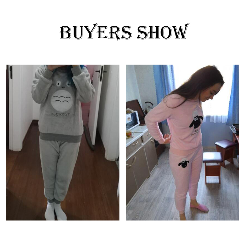 JULY'S SONG Flannel Women Pajamas Sets Autumn Winter Pajamas Cartoon Thick Warm Women Sleepwear Cute Animal Female Homewear 16