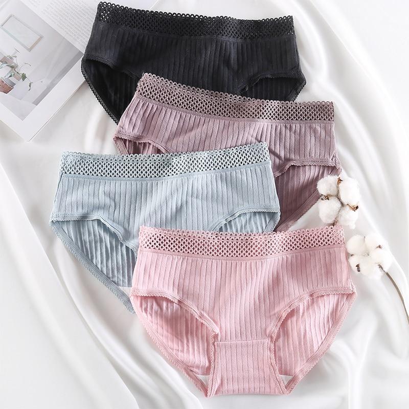 Sexy Women's Underwear Cotton Stripe Panties Lingerie Female Seamless Briefs Women Panties Mesh Waist Design Underpants L-XXL