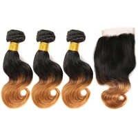 Ombre doczepy typu body wave z zamknięciem brazylijski włosy wyplata wiązki z zamknięciem nie Remy ludzki włos włosów 3/4 wiązki z zamknięciem