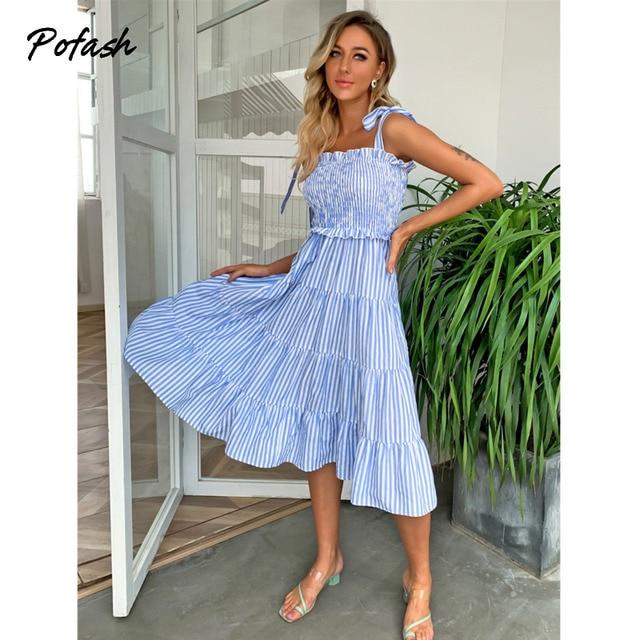 Pofash Blue Tie Bow Bohemian Dress Women Ruched High Waist Backless Spaghetti Strap Midi Dresses Summer Ruffle Beach Vestidos 4