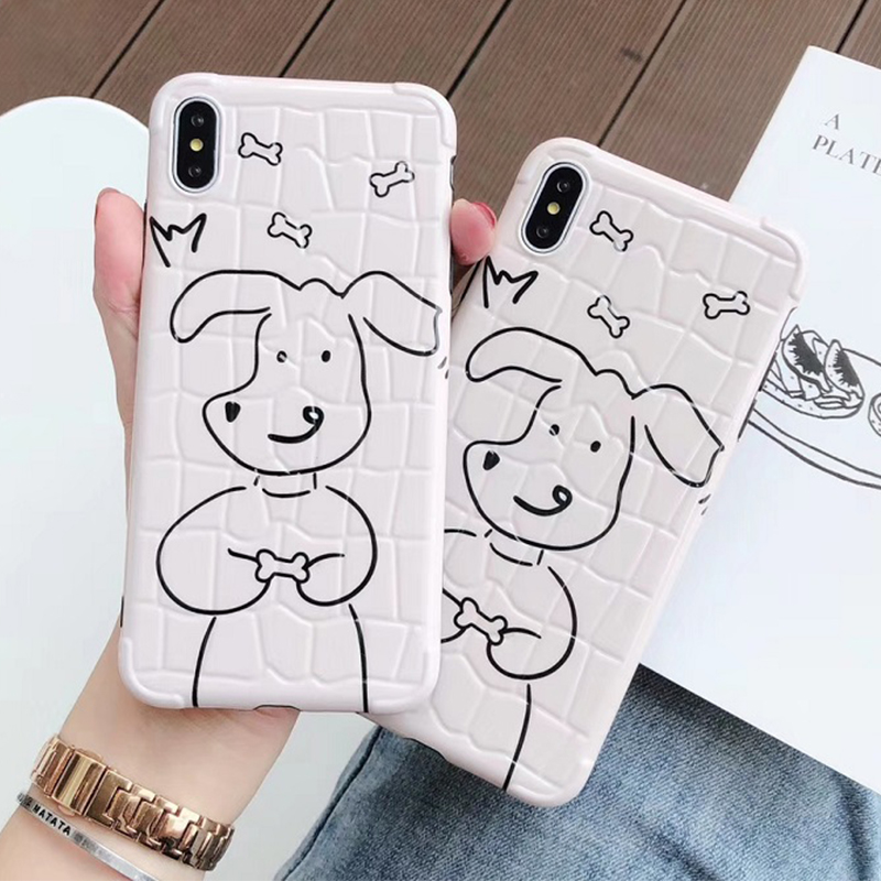Cute cartoon dog <font><b>white</b></font> phone <font><b>case</b></font> For <font><b>iphone</b></font> Xs MAX XR X XS <font><b>Cases</b></font> Crocodile Texture Phone <font><b>Case</b></font> For <font><b>iphone</b></font> 7 8 Plus <font><b>off</b></font> <font><b>case</b></font> image