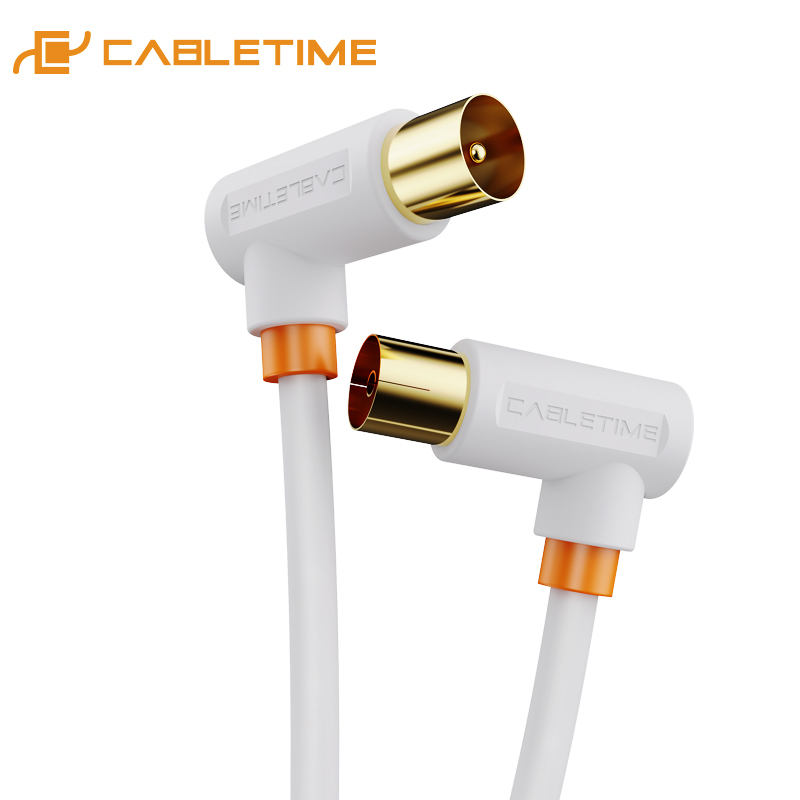 CABLETIME Digital TV Cable 90 Degree M/F Coaxial Satellite Antenna Cable Video Cable For HD Television STB Line C317