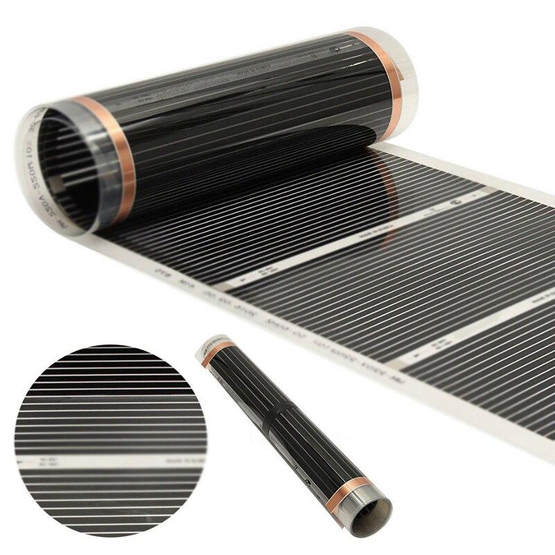 Noir 60 degrés électrique maison plancher infrarouge chauffage par le sol Film chaud tapis 50cm x 6m