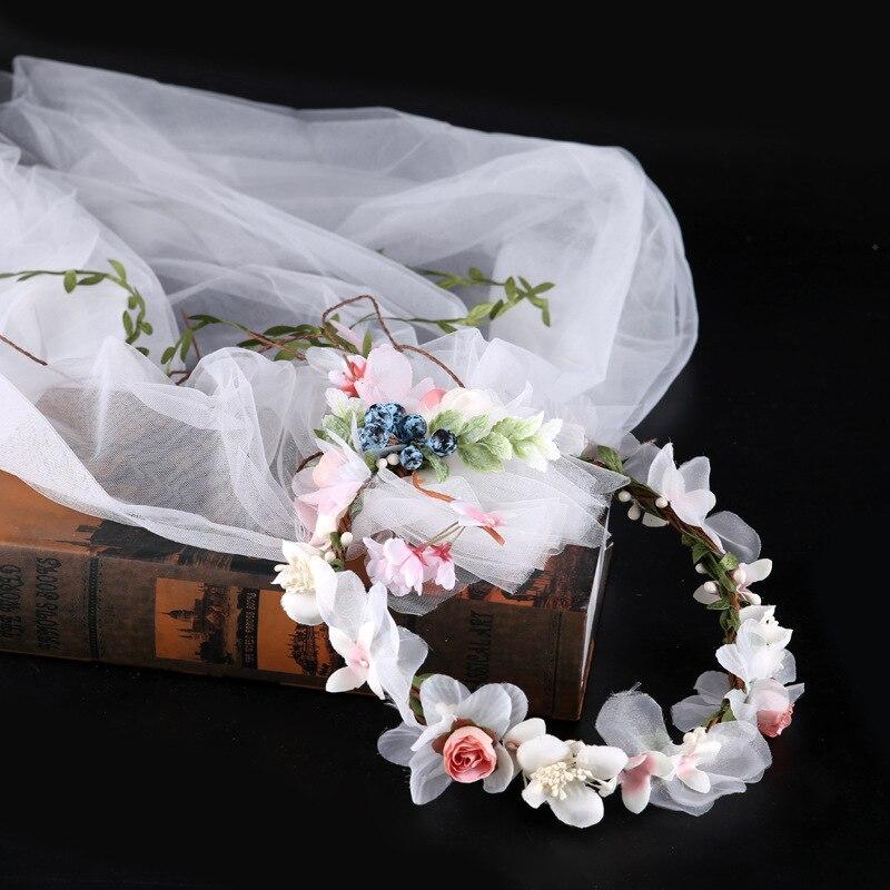 Garland Veil Photo Accessories Fabric Flower Veil Hair Band Bride Headdress Wedding Bride Hair Accessories