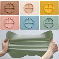 Детская посуда, силиконовая тарелка, нескользящий мини-коврик, детские столовые приборы, водонепроницаемые силиконовые подставки для детс...