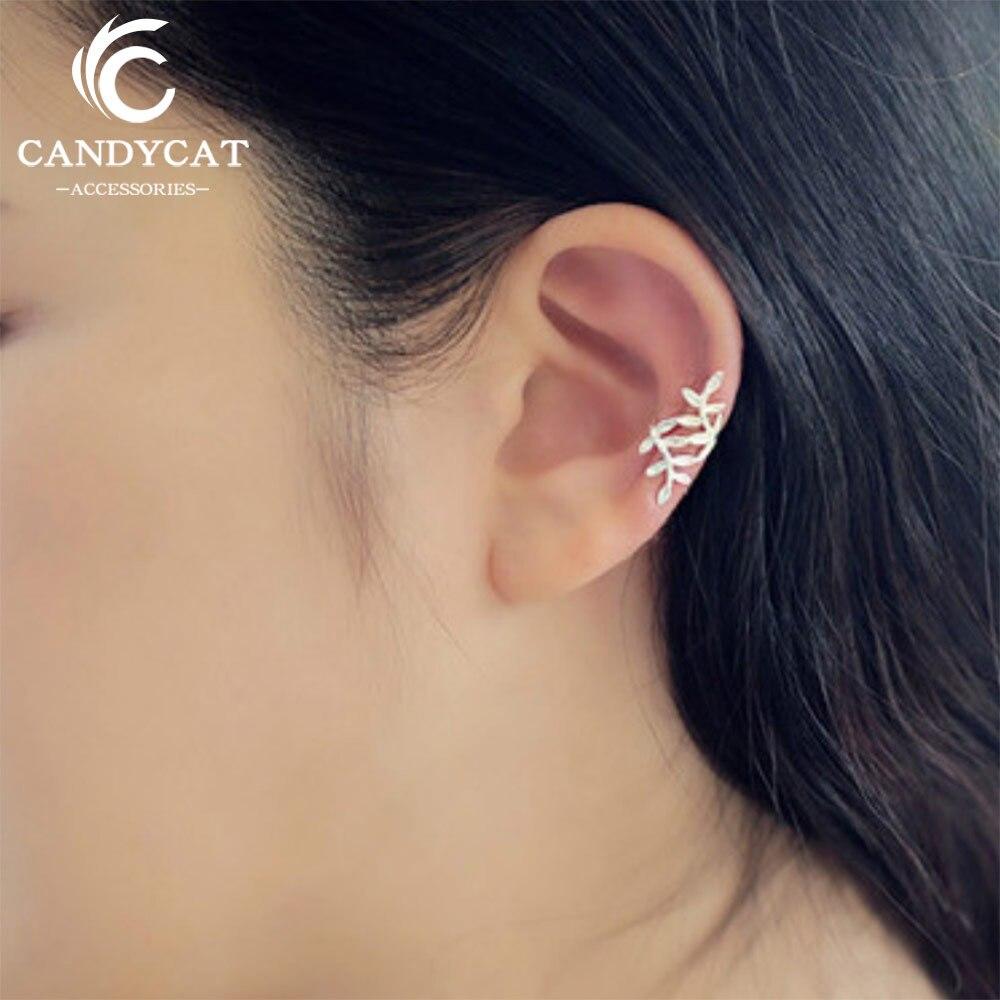 Simple Branch Leaf New Clip Earrings Women Trendy Korean Gold Silver Color No Pierced Earring Fashion Jewelry Gifts Wholesale