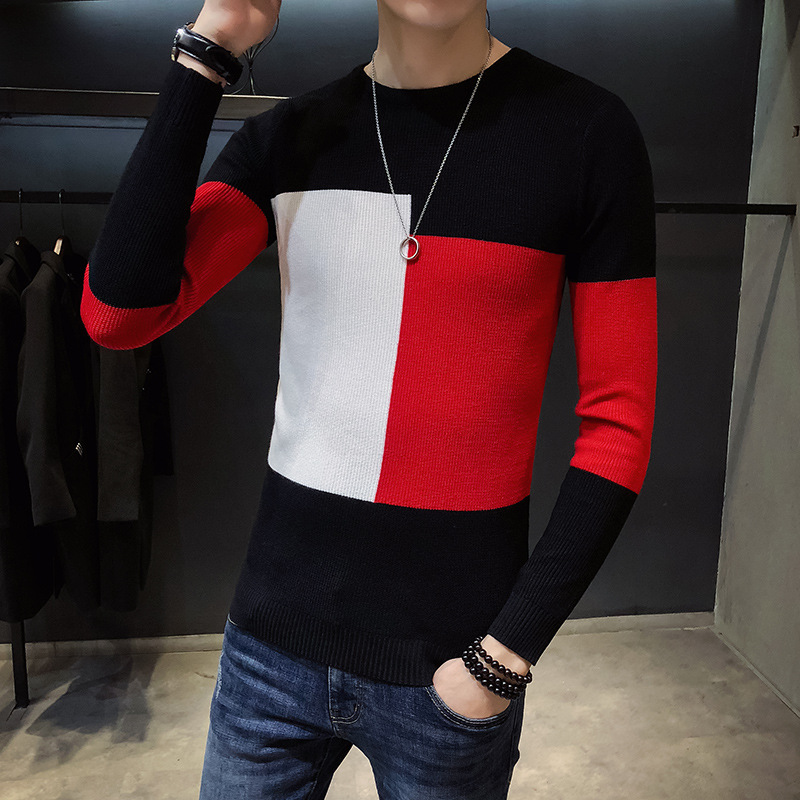 Striped O-Neck High Fashion Knitted Sweater for Men Slim Thick Pullover Sweater Sweater