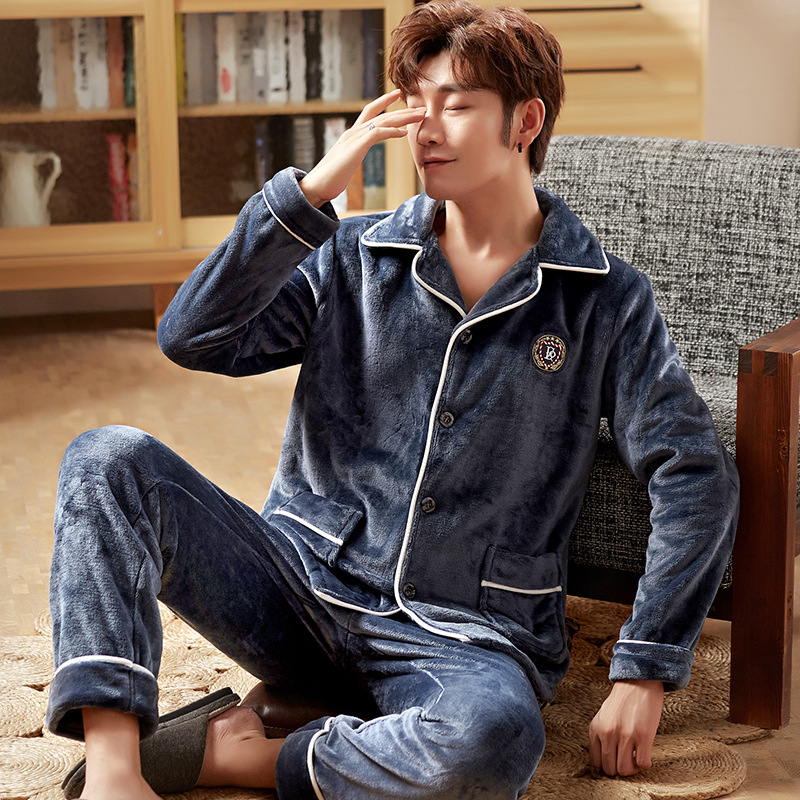 Autumn Winter Coral Pile Pajamas Heavy And Flannel Men Warm Cardigan Home Suit Casual Sleep Set 2Pcs Casual Home Clothing