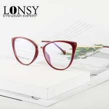 LONSY Sexy Cat Eye Reading Glasses For Women Transparent Anti Blue Light Blocking Cateye Frame Presbyopic Eyeglass Diopters