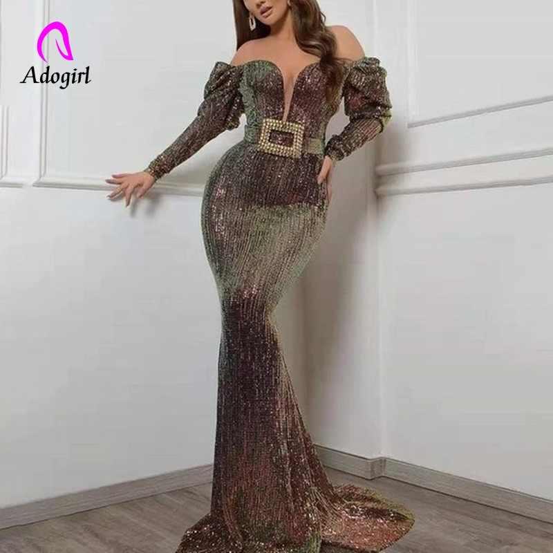 Paillettes 2019 femmes automne brillant soirée longue robe Vintage Sexy col en V profond élégant fête robes de nuit femmes robes de sirène