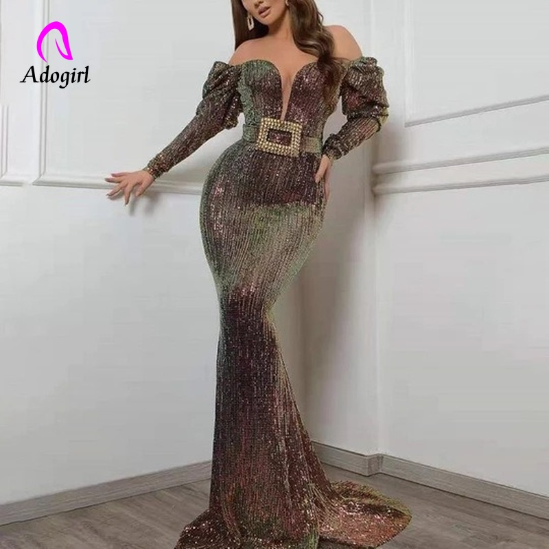Sequined 2019 Women Autumn Sparkly Evening Long Dress Vintage Sexy Deep V Neck Elegant Party Night Dresses Women Mermaid Dresses