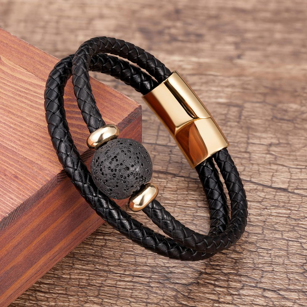 2020 Fashion Stainless steel Bracelet Charm 6 Style Round Bead Genuine leather Mens Jewelry Pulsera Hombre Friend Gift