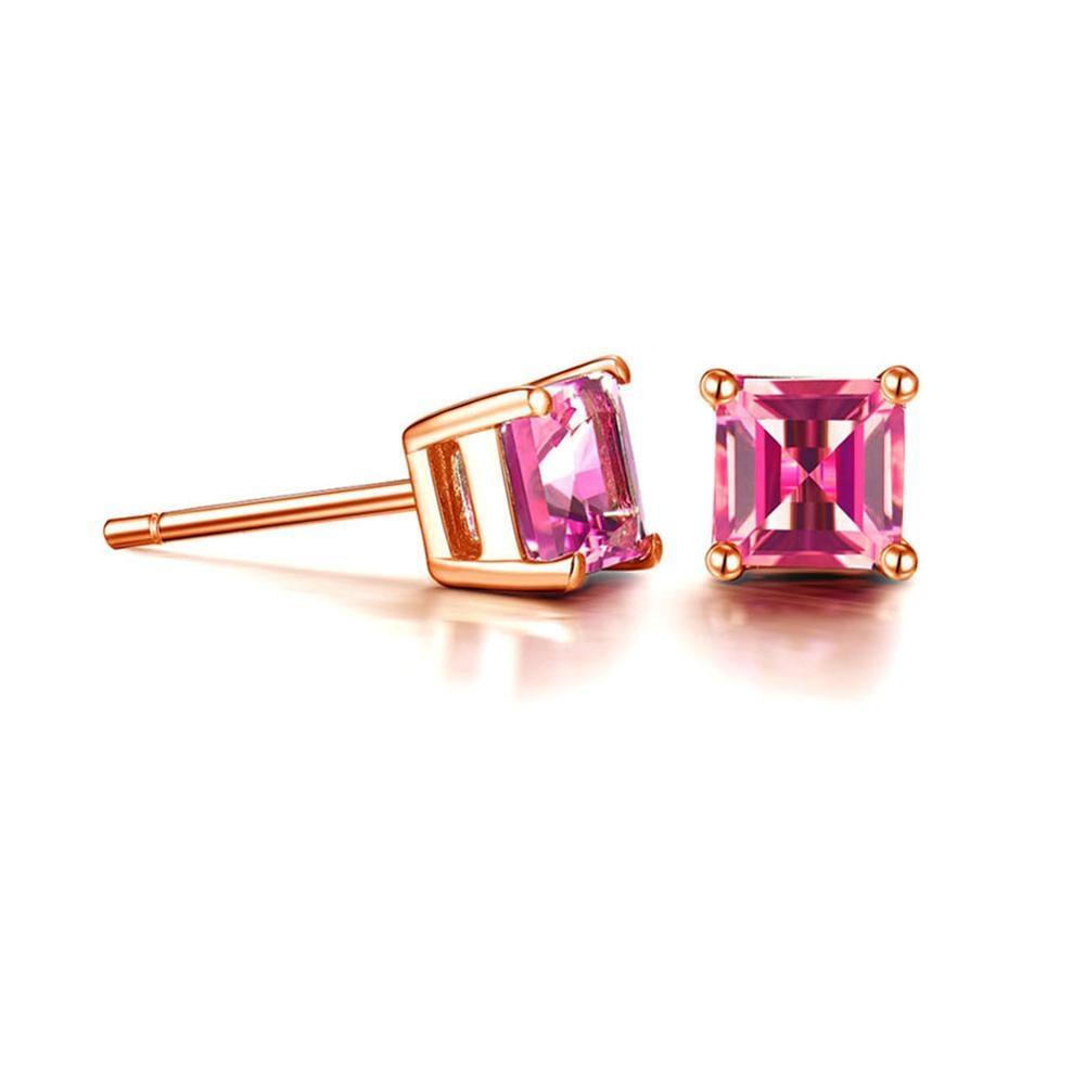 Jade Angel 18K Rose Gold Princess Cut Pink Topaz Ruby Stud Earrings Women Fine Jewelry