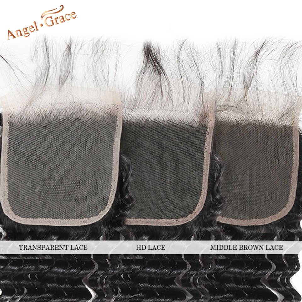 Бразильские глубокие волнистые пучки с прозрачным/HD кружевом Закрытие AngelGrace волосы 3 пучка с закрытием Remy человеческие волосы с закрытием