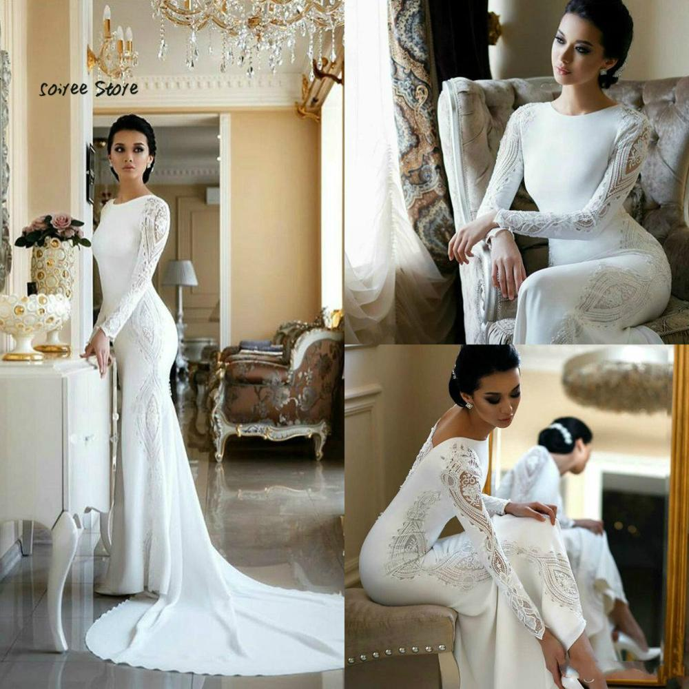 Simple Boho Wedding Dresses Civil 2020 Satin Mermaid Long Sleeve Beach Wedding Gowns With Lace O Neck Robe De Mariage Trouwjurk
