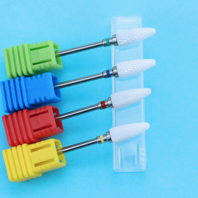 Ceramic Milling Cutter Manicure Nail Drill Bits Electric Nail Files Pink Blue Grinding Bits Mills Cutter Burr Accessories 4
