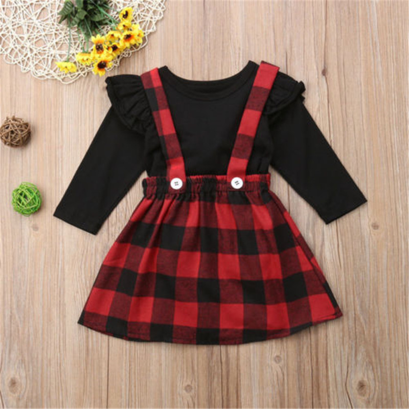 0-4years Baby Girl Clothes Suits Princess Christmas Kids Girls Outfits Fall Winter T-Shirt Overalls Strap Plaid Dress Girls Set