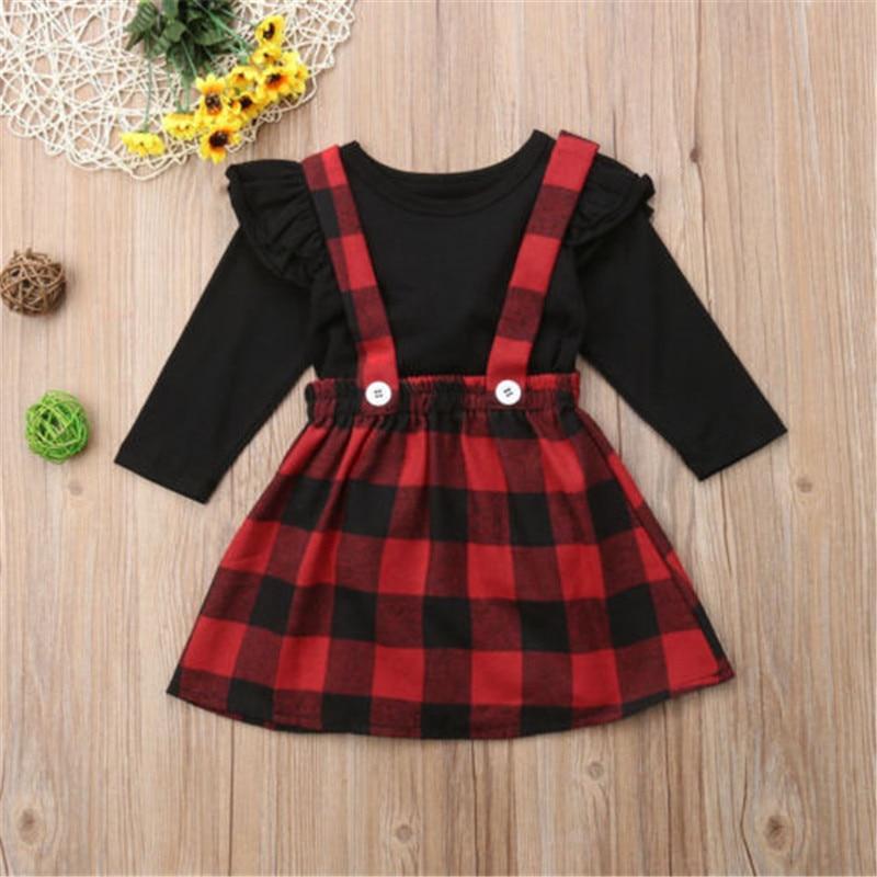 Conjunto de roupas de bebê menina, 0-4 anos, roupas de princesa natal, crianças, meninas, outono, inverno, camiseta, macacão, tira, xadrez, vestido, conjunto de meninas
