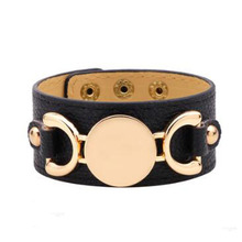 Fashion Wide Leather Women's Bracelet Gold Buckle Multicolor Leather Cuff Bracelet Party Wedding Christmas Jewelry