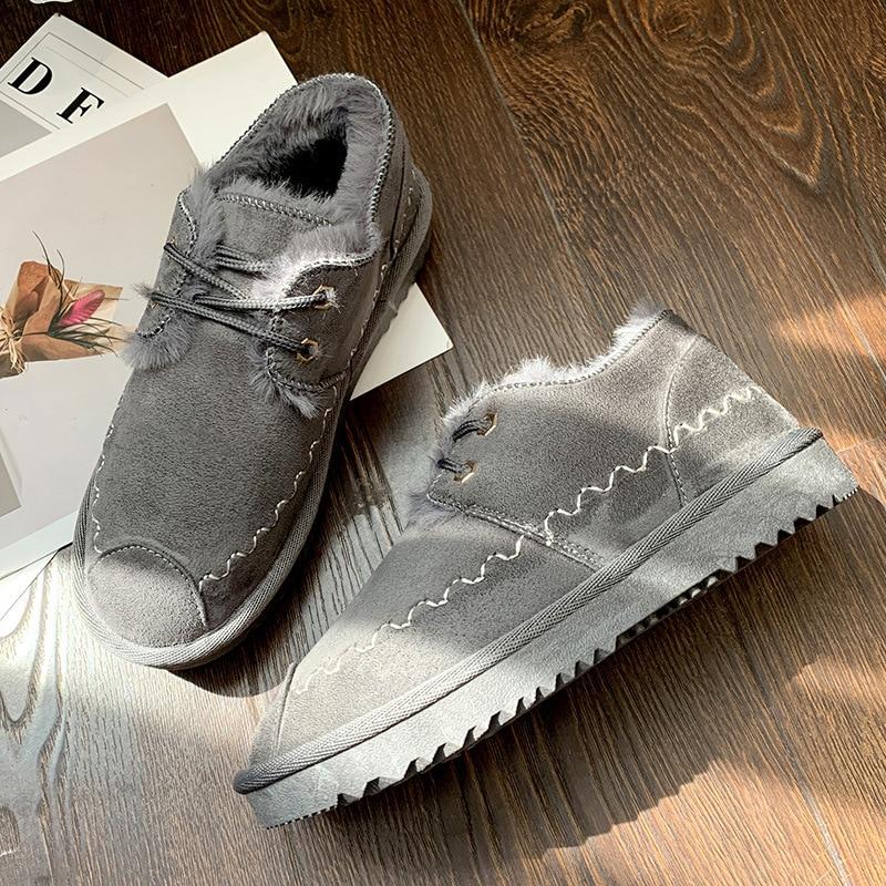 2019 New Snow Boots Female Short Tube Bread Cotton Shoes Women's Winter Plus Velvet Warm Fashion Casual Boots 47