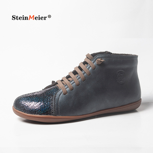Image 2 - Hommes hiver neige bottes en cuir véritable cheville printemps chaussures plates homme court marron bottes avec fourrure 2020 pour hommes à lacets bottes