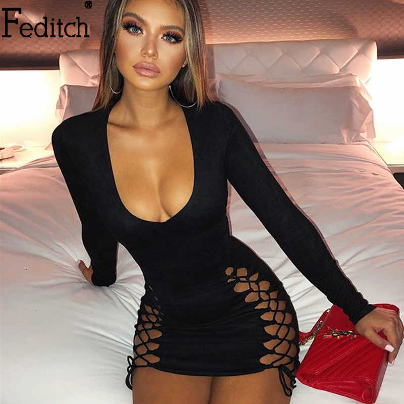 Feditch 2019 Winter Suede Lace Up Bandage Party Dress Hollow Out V-hals Lange Mouwen Bodycon Jurk Zwart Mini Club sexy Vestidos
