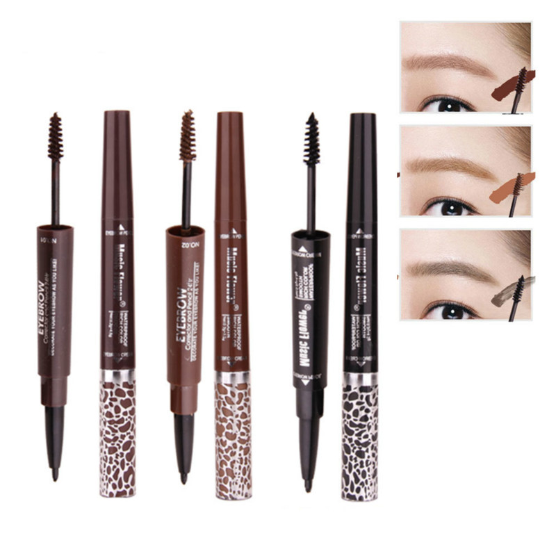 Double Heads <font><b>Eyebrow</b></font> <font><b>Pen</b></font>+<font><b>Eyebrow</b></font> Brush Waterproof Long Lasting Eye Brow <font><b>Tatoo</b></font> <font><b>Pen</b></font> <font><b>Eyebrow</b></font> Gel Pencil Cosmetics Makeup 1Pcs image