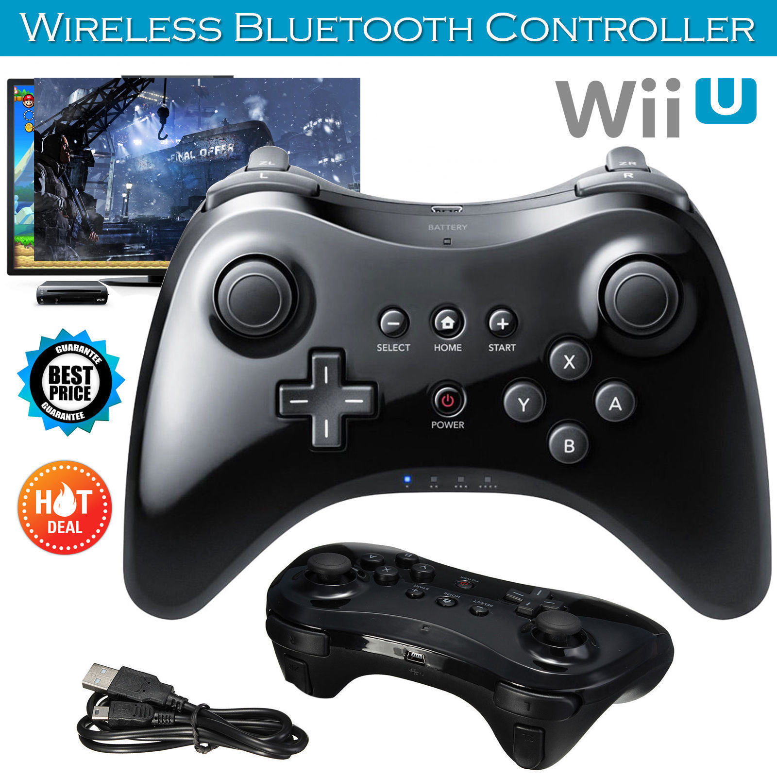 BEESCLOVER For Nintend For Wii U Pro Bluetooth Wireless Controller USB Classic Dual Analog Controller For Wii U Pro Gamepad d35