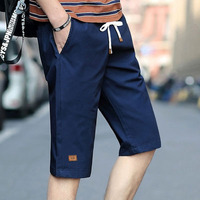 Summer men's casual drawstring 7 points overalls sports shorts men's straight tide card