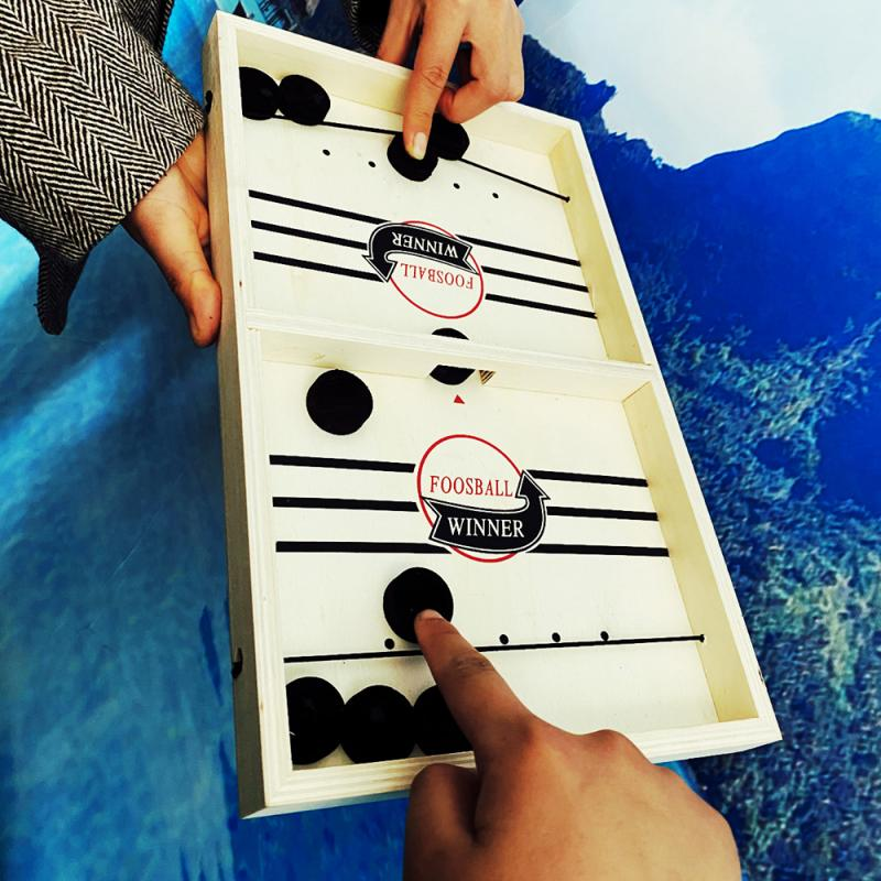 2020 New Slingpuck Game Montessori Fast Paced Board Games Toys Adults Wooden Addition Subtraction Board Mini Family Set Dropship