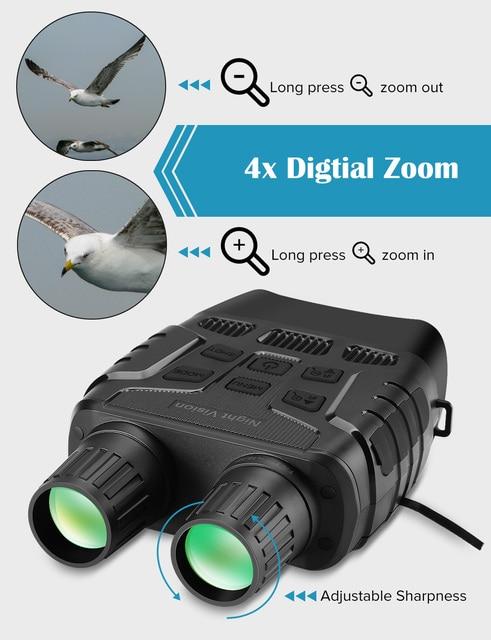 Night Vision Device Binoculars 300 Yards Digital IR Telescope Zoom Optics with 2.3' Screen Photos Video Recording Hunting Camera 3