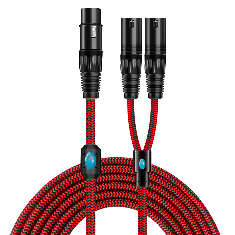 Hifi XLR Splitter Cable for Mixing Console Amplifier Regular 3 Pin XLR Femlae to 2 XLR Male Audio Cable Braided 1M 2M 3M 5M 8M    -