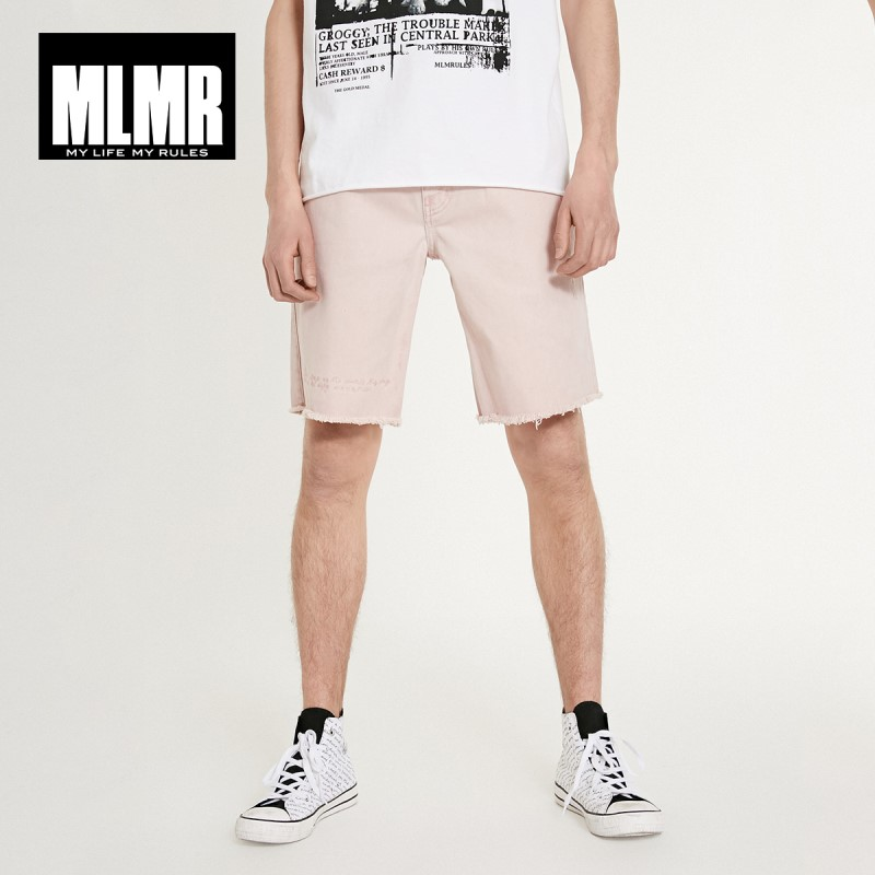 JackJones MLMR Men's 100% Cotton Embroidered Letters Frayed Raw-edge Denim Shorts| Streetwear Shorts 219115519