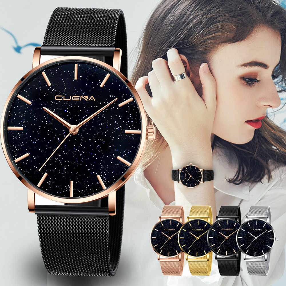 Reloj de mujer cielo estrellado de diamantes relojes de pulsera de mujer de marca de lujo inoxidable reloj de pulsera de malla de cuarzo con hebilla magnética para mujer * E